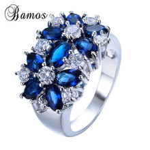 Size 6-10 Blue Red Pink Green Zircon Finger Rings  White Gold Filled Ring For Women Wedding Party Jewelry Aneis Wholesale RW0049