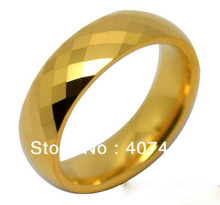 YGK JEWELRY 6MM Golden Color Facet Tungsten Carbide Ring Women&Mens Jewelry His/Her Beauty Wedding Band(China)