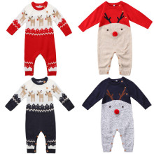 Emmababy New born Baby Boy Girl warm Deer pattern festival Wool Knitting Rompers Jumpsuit Outfit bebe kids Romper Clothes(China)