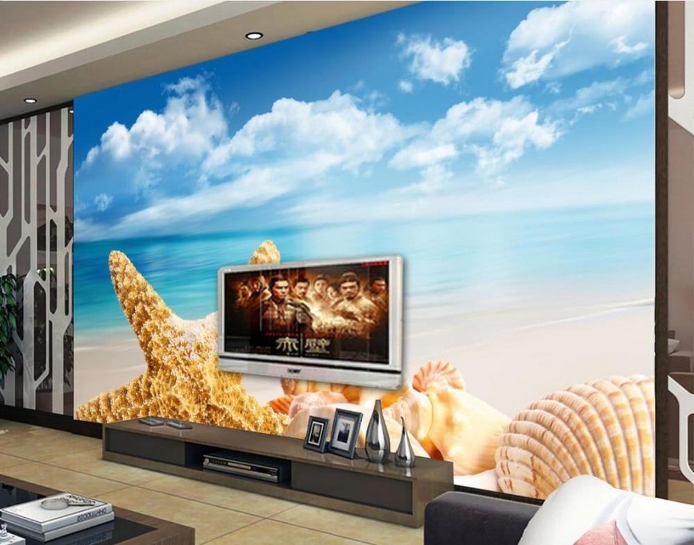 modern 3d photo wallpaper Custom 3d mural wallpaper Landscape beach starfish photo 3d wall murals wallpaper<br>