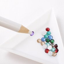 2pcs/set Nail Art Rhinestones Gems Picking Picker Pencil Pen+Triangle Dotting Plate High Quality Manicure Diamonds Tools