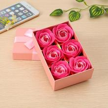 Scented Bath Soap Rose Soap Flower Petal with Gift Box For Wedding Valentine's Day 6 Pcs / Set A45
