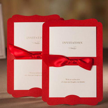 1pcs Sample Red Laser Cut Wedding Invitations Card Personalized Custom Casamento & Ribbon Envelopes Seals Wedding Party Supplies