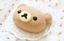 Free Shipping 1 pc Relaxation Bear Sister Silicone Cheese Cake Mold Rilakkuma Fondant Baking Topper Cupcakes Mould