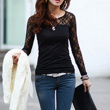 2017 New Summer T Shirt Women Fashion Brand Long Sleeve Sexy Lace Crochet Tops Embroidery Casual T-Shirt Plus Size Blusa XXXL(China)