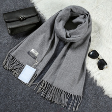 New Luxury Scarf Winter Women Scarf Men Wool Cashmere Solid Scarf High Quality Pashmina Tassels Wraps Scarves 180*70cm WJ8049(China)