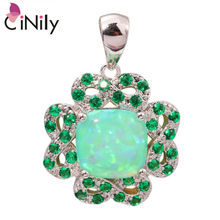 "CiNily Created Green Fire Opal Green Quartz Silver Plated Wholesale Fashion for Women Jewelry Pendant 1 1/8"" OD6010"