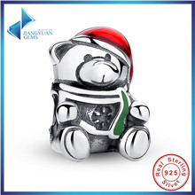 2016 Hot Sell 925 Sterling Silver Christmas Teddy Bear Red & Green Enamel Charm Bead Fit Bracelet Original Jewelry Free Shipping