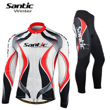 Santic Cycling Winter Fleece Jersey+ Winter Full Tights Long Sleeve Thermal Outdoor Bicycle Professional Sports Clothing MCT025