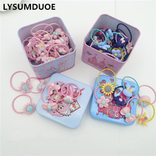 40Pcs/Lot Hairband Flower Bow Rope Cartoon Headband Box Set Gift Scrunchy Children Elastic Bands Girl Wedding Hair Accessories(China)