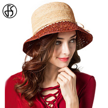FS Summer Raffia Straw Hats For Women Sun Hat Fashion Rose Brown Purple Foldable Beach Wide Brim Hallow Out Visor Cap(China)