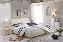 beige modern genuine leather soft bed contemporary bedroom furniture China simple