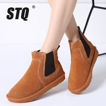 STQ 2017 Winter women ankle boots women leather suede plush warm boots motorcycle Boots flat heel rain rubber snow boots 1689(China)