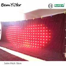 A3618/P18cm(7.1 inch) 3x6m led video curtain/motion drape/dj booth/DMX/remote/SD card/screen/wedding backdrop/decoration/shows