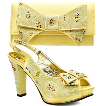 Latest Gold Color Sales In Women Matching Shoes and Bag Set Decorated with Rhinestone African Shoes and Matching Bags Italian(China)
