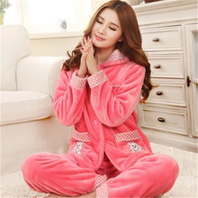 2017 new arrival autumn and winter flannel women's pajama set long sleeve sleepwear couple plus size sleep set(China)
