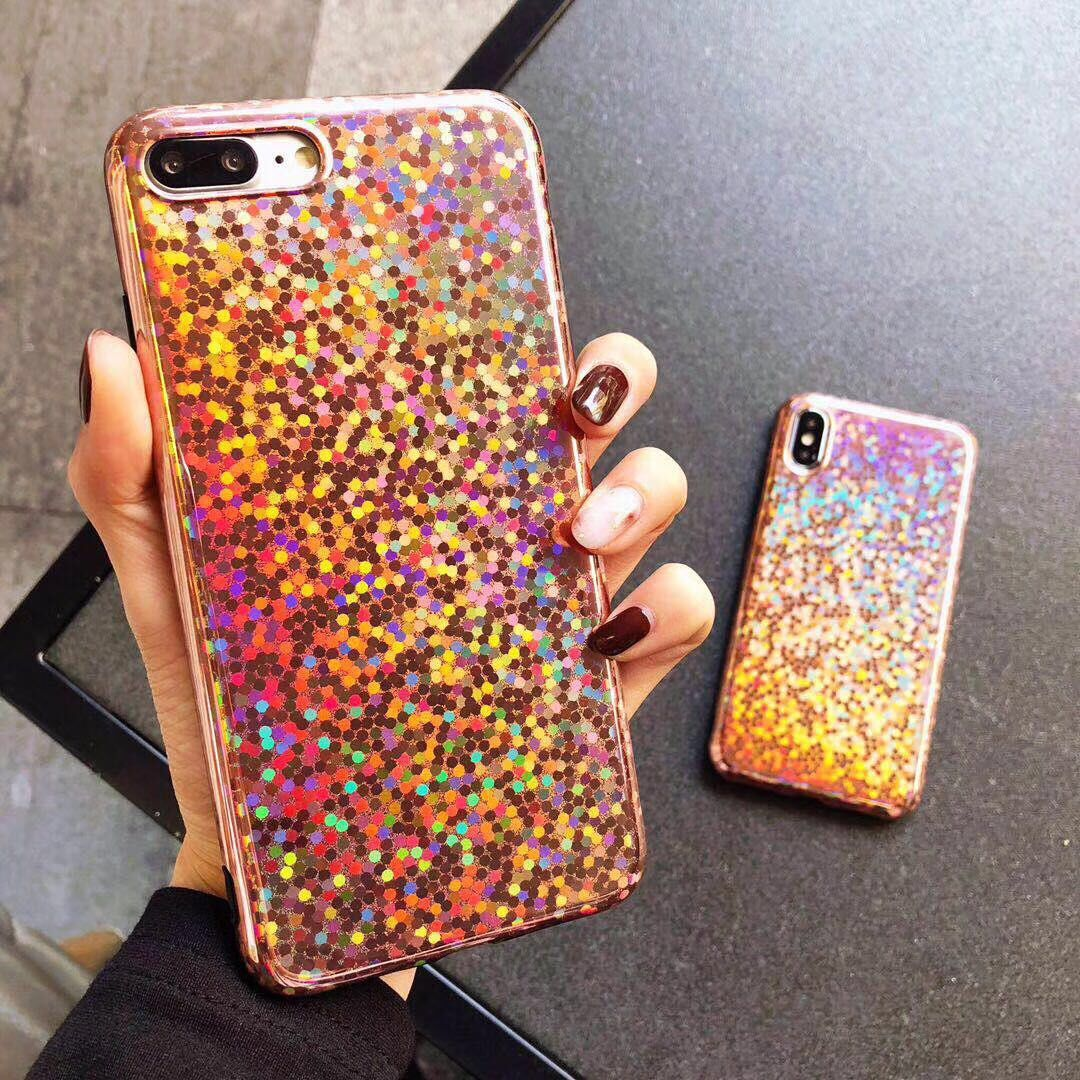 iphone 7 7Plus Shiny Glitter laser mirror phone Cases Bling silicon Case iphone X 6 6s 6Plus 6splus 8 8plus back cover