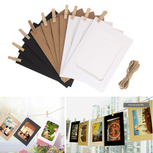 10pcs Combination Wall Photo Frame DIY Hanging Picture Album Party Wedding Decoration Paper Photo Frame with Rope Clips(China)