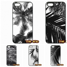 Black white palm leaves palm trees Art Hard Phone Case Cover For iPhone 4 4S 5 5C SE 6 6S 7 Plus Galaxy J5 A5 A3 S5 S7 S6 Edge