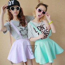 Buy Pastel Skater Flared Pleated Mini Skirt Women Belt Waist Suspender Skirt for $4.90 in AliExpress store