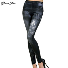 2017 Women New Fashion Classic Stretchy Slim Leggings Sexy imitation Jean Skinny Jeggings Skinny Pants big size bottoms hot sale(China)
