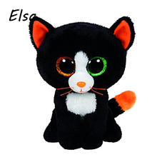 Original Ty Beanie Boos Big Eyes Plush Toy Doll Black Cat TY Baby Kids Gift 10-15 cm WJ159