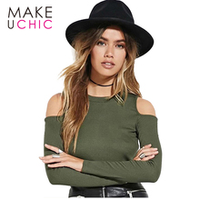 MAKEUCHIC Apparel Women Army Green T-shirt Sexy Cold Shoulder Solid Casual Female Pullover Tops Streetwear Brief Style Tees