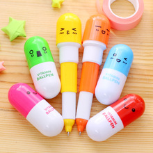 1PCS Kawaii Cartoon Novelty Creative Retractable Pill Shape Smiling Face Ballpoint Pen Promotional Gift Stationery Student Prize(China)