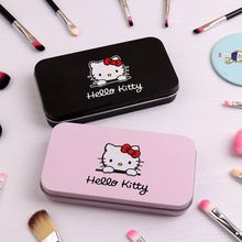 DHL 200set Hello Kitty Makeup Brush Set with Iron Mini Box Make up Professional Facial Brushes Black/Pink Maquiagem(China)