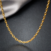 Genuine 18k Gold Unisex Necklace Wedding Party Women Rose Yellow Link Chain For Pendant Lady Female Gift Trendy Hot Selling(China)