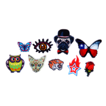 free shipping 9PCS/ lot  bag shirts jean accessories plastic acrylic colorful print butterfly owl tiger  brooch pin badge