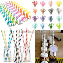 Free Shipping 5000 pcs Mixed Colors Paper Drinking Straws Retro Vintage Striped Birthday Wedding Event & Party Supplies(China)