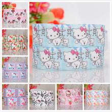 50% sales 5/10/20 yards Japanese cartoon hello kitty ribbon pattern printed grosgrain ribbon random delivery