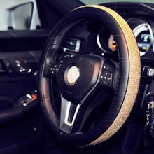 Car Steering Wheel Cover Leather FASHION Rhinestone Covers Ornament Accessories For Women Girls for Mazda CX-7 Suzuki SX4 Kia