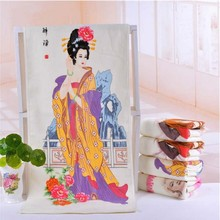 New100%cotton fabric drunken beauty figure Temperature control Color changing towel creative gift Wash face/hand towels bathroom