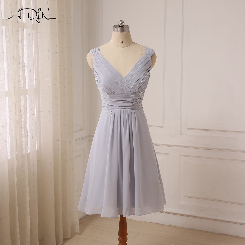 ADLN Cheap Sexy Short Bridesmaid Dresses Knee Length Cap Sleeve Chiffon Bridesmaid Gowns For Wedding Party Lace Up Back 3