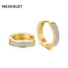 Meaeguet Stainless Steel Round Small Circle Huggies Rhinestone Hoop Earrings For Women Fashion Loop Ear Jewelry(China)