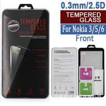 Sinzean 50pcs For NOKIA 6/5/3 tempered glass screen protector(0.3mm/2.5d) with retail box