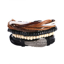 Woman Wooden Beads Beaded Bracelets for Women Leather Bracelet & Bangles Men Hand Handcuffs Jewelry 2017 Kuniu New Design Wings