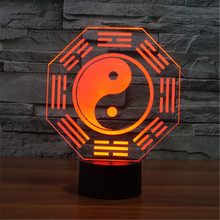 Creative 7 Colors 3D Chinese Taiji Bagua Acrylic Visual Light LED Lamp Bedroom Table Decoration Lamps Light Kids Gifts 3D-TD122