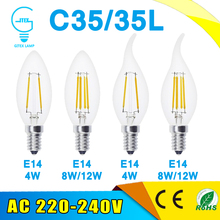 2W 4W 6W E14 220V AC LED Filament Candle Bulbs 360 Degree bulb New Design lamp Replace Incandescent Light Energy Saving Dimmable(China)