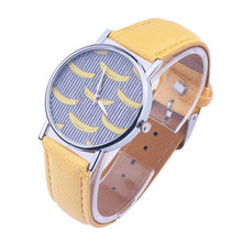 Yellow Banana Pattern PU Leather Band Quartz Wrist Watches Superior New Fashion Watch For Women Girl Gift  LL
