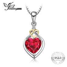 JewelryPalace Love Knot Heart 2.5ct Created Red Ruby 925 Sterling Silver 18K Yellow Gold Anniversary Pendant Necklace 45cm Chain(China)