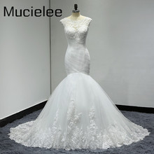 Buy Pleated Mermaid Wedding Dresses 2017 Real Photo Trouwjurk Applique Lace Sexy Back Wedding Dress Bride Gown Vestido Noiva for $126.47 in AliExpress store