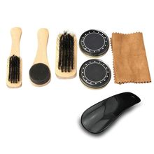 Portable Travel Men Shoes Cleaning Kit Wooden Handle Brushes Black Neutral Shoe Shine Polish Leather Care Smooth Tools @