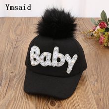 New Thick Velvet Autumn Winter BABY Hot Diamond Hat Child Warm Ear Caps Faux Rabbit Fur Pompom Ball Baseball Cap For Boys Girls(China)