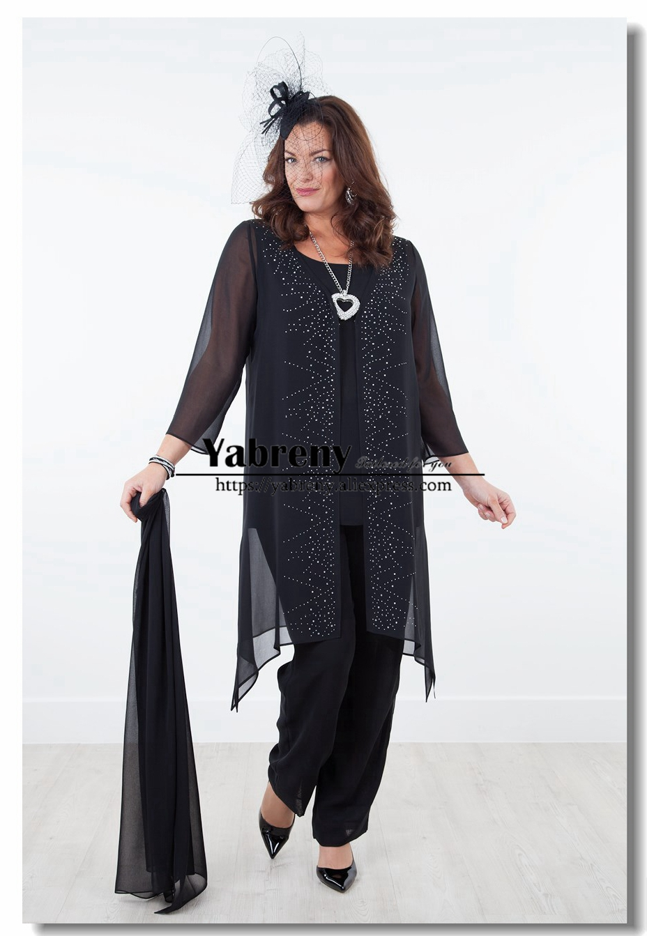 2019 New arrival Plus size Chiffon Elastic waist Mother of the bride pants suits with shawl Black Navy