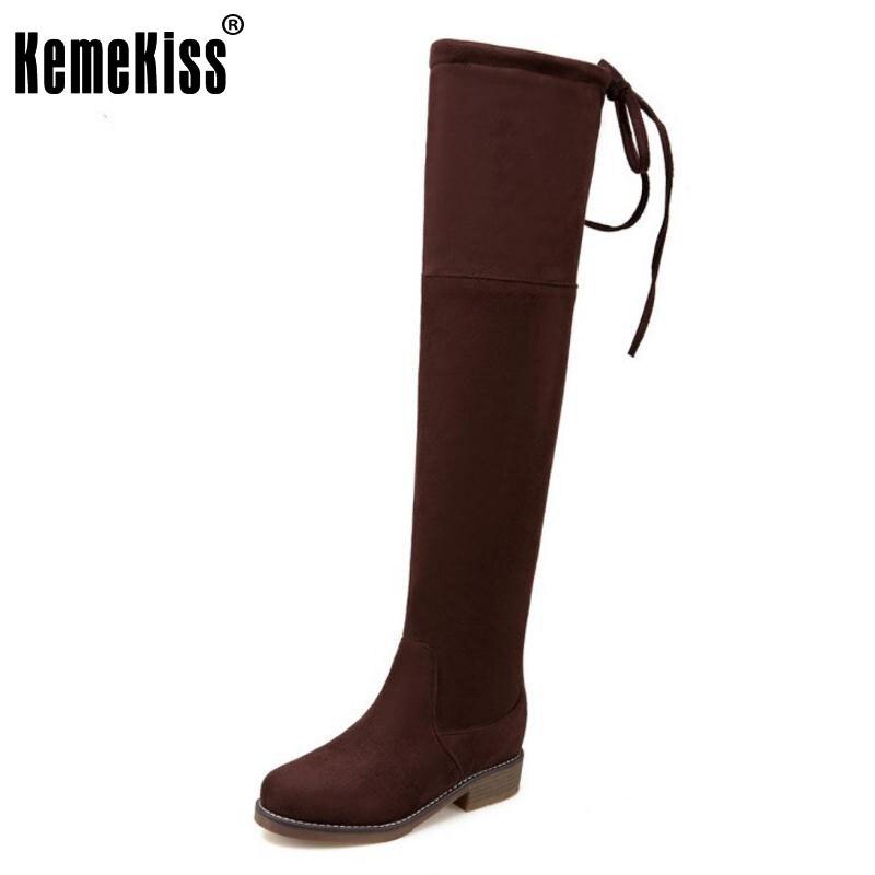 KemeKiss Size 33-47 Fashion Winter Elastic Boots Women Med Heel Over Knee Long Boots Female Back Strap Zipper Warm Footwear<br>