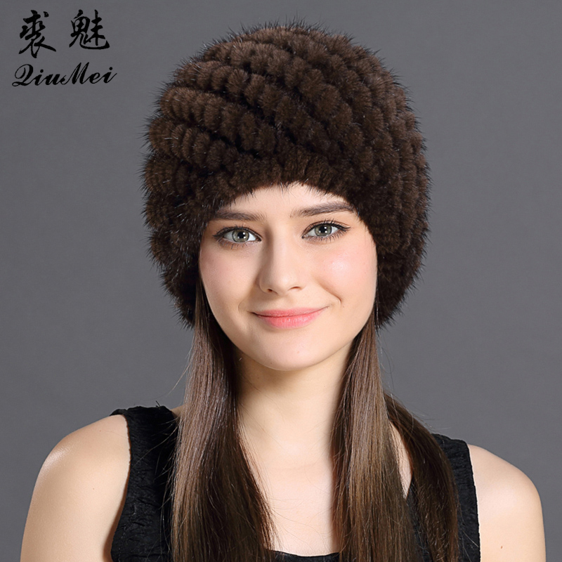 QiuMei Mink Fur Hat Women With Natural Real Fur Female Cap Women's Winter Hat Mink Fur Real Knitting Cap Pineapple Hat Hold Ear(China)