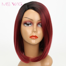 MISS WIG Black Ombre Red Pink Blue Bob Wigs 14Inch Wigs For Black Women Synthetic Wigs 200g(China)